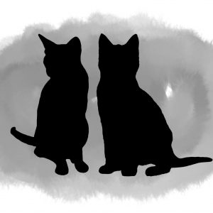 two cats portrait watercolour wash
